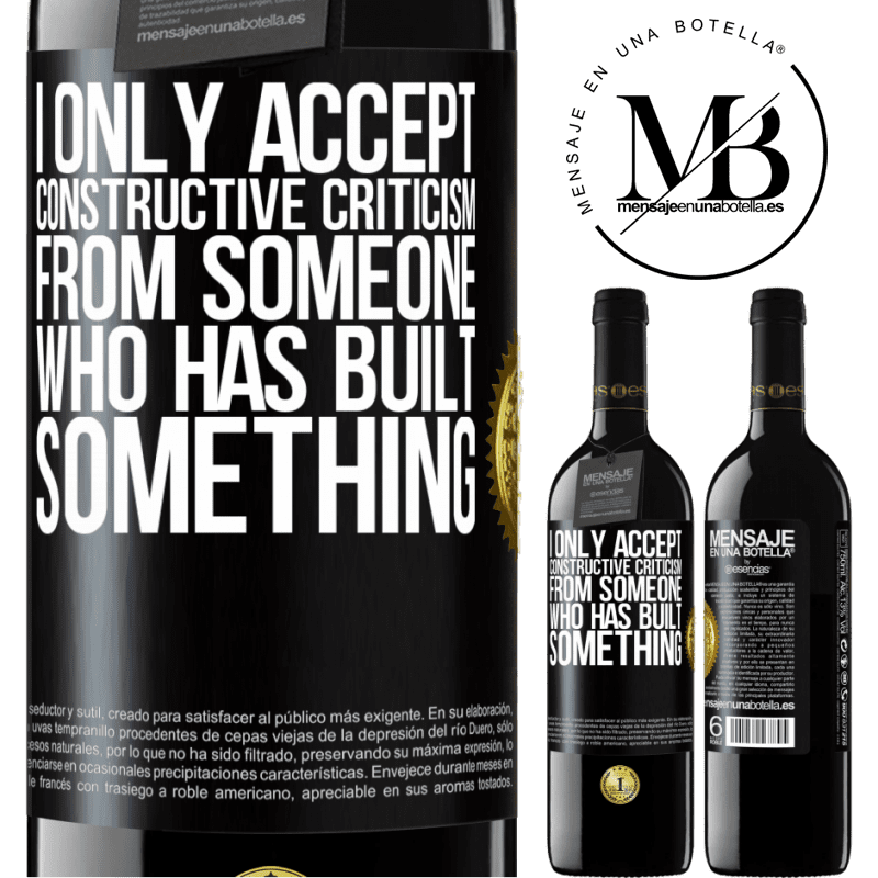 24,95 € Free Shipping | Red Wine RED Edition Crianza 6 Months I only accept constructive criticism from someone who has built something Black Label. Customizable label Aging in oak barrels 6 Months Harvest 2018 Tempranillo