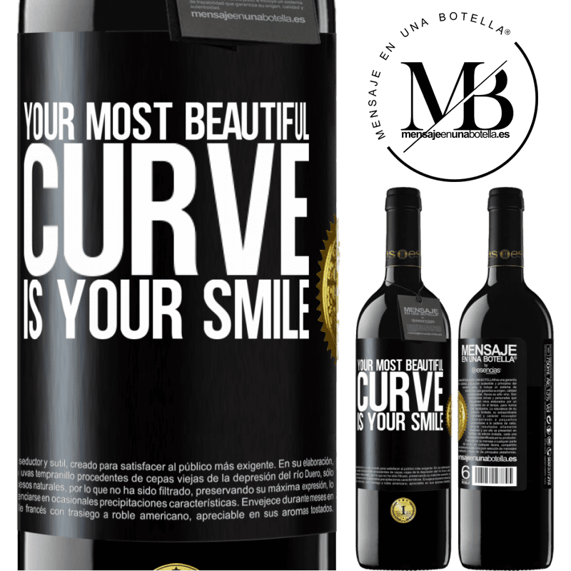 24,95 € Free Shipping   Red Wine RED Edition Crianza 6 Months Your most beautiful curve is your smile Black Label. Customizable label Aging in oak barrels 6 Months Harvest 2018 Tempranillo