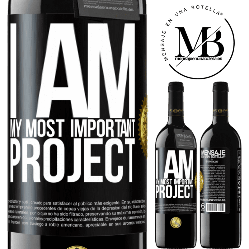 24,95 € Free Shipping | Red Wine RED Edition Crianza 6 Months I am my most important project Black Label. Customizable label Aging in oak barrels 6 Months Harvest 2018 Tempranillo