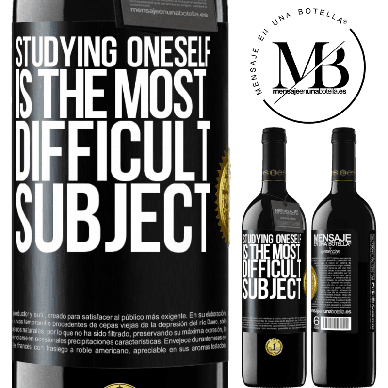 24,95 € Free Shipping | Red Wine RED Edition Crianza 6 Months Studying oneself is the most difficult subject Black Label. Customizable label Aging in oak barrels 6 Months Harvest 2018 Tempranillo