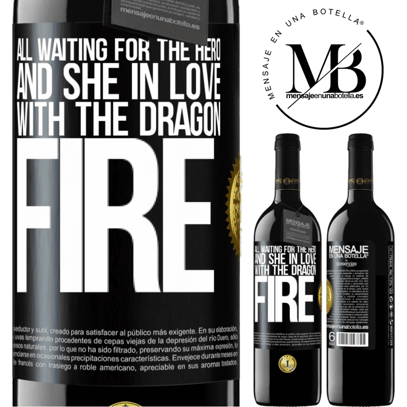 24,95 € Free Shipping | Red Wine RED Edition Crianza 6 Months All waiting for the hero and she in love with the dragon fire Black Label. Customizable label Aging in oak barrels 6 Months Harvest 2018 Tempranillo