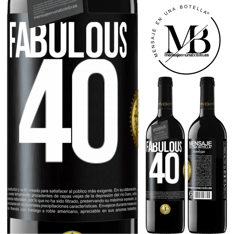 24,95 € Free Shipping | Red Wine RED Edition Crianza 6 Months Fabulous 40 Black Label. Customizable label Aging in oak barrels 6 Months Harvest 2018 Tempranillo