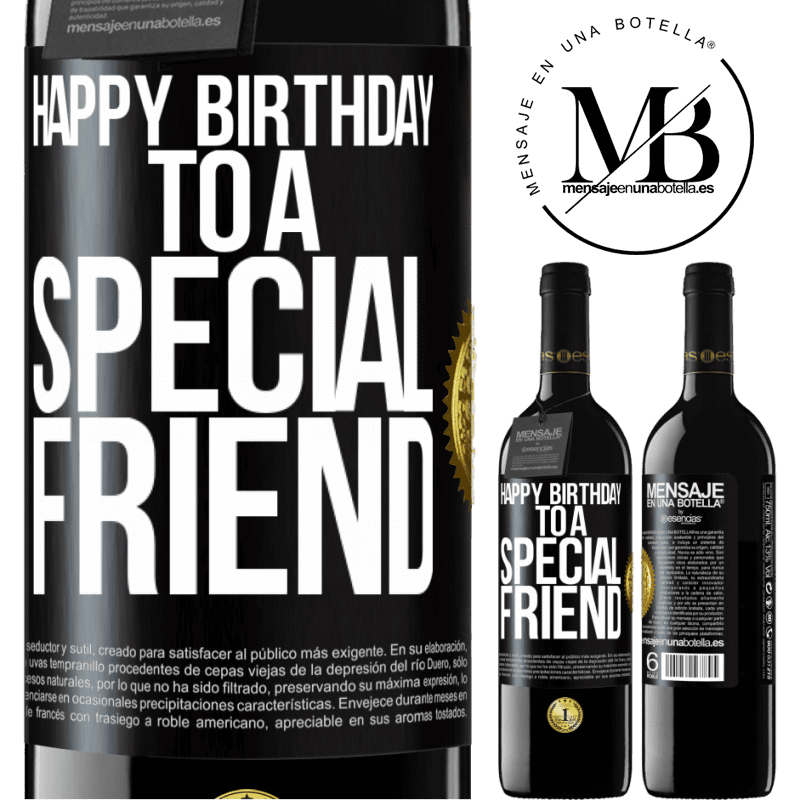 24,95 € Free Shipping | Red Wine RED Edition Crianza 6 Months Happy birthday to a special friend Black Label. Customizable label Aging in oak barrels 6 Months Harvest 2018 Tempranillo