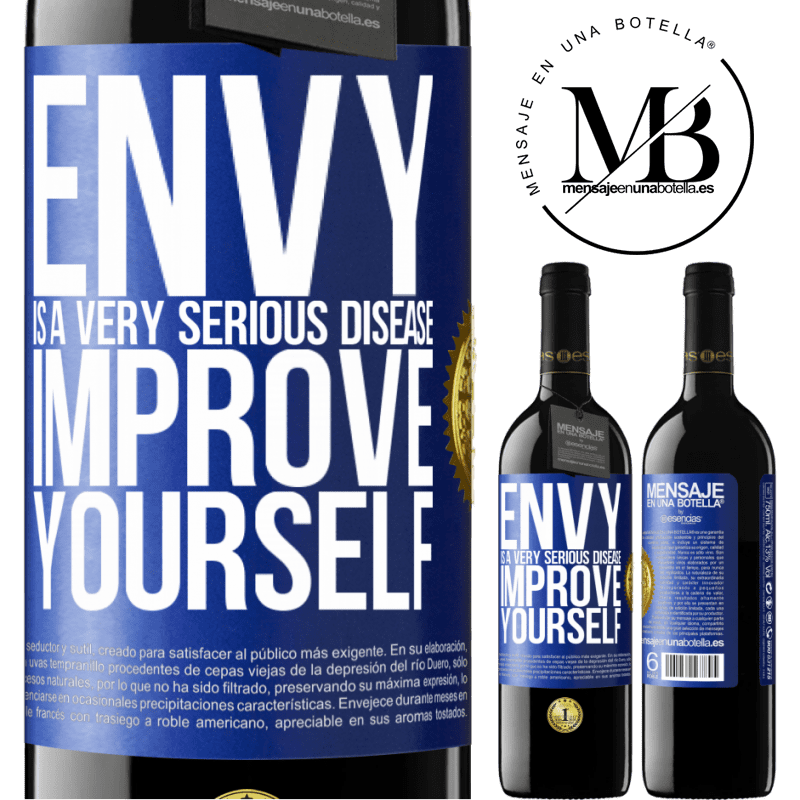 24,95 € Free Shipping | Red Wine RED Edition Crianza 6 Months Envy is a very serious disease, improve yourself Blue Label. Customizable label Aging in oak barrels 6 Months Harvest 2018 Tempranillo