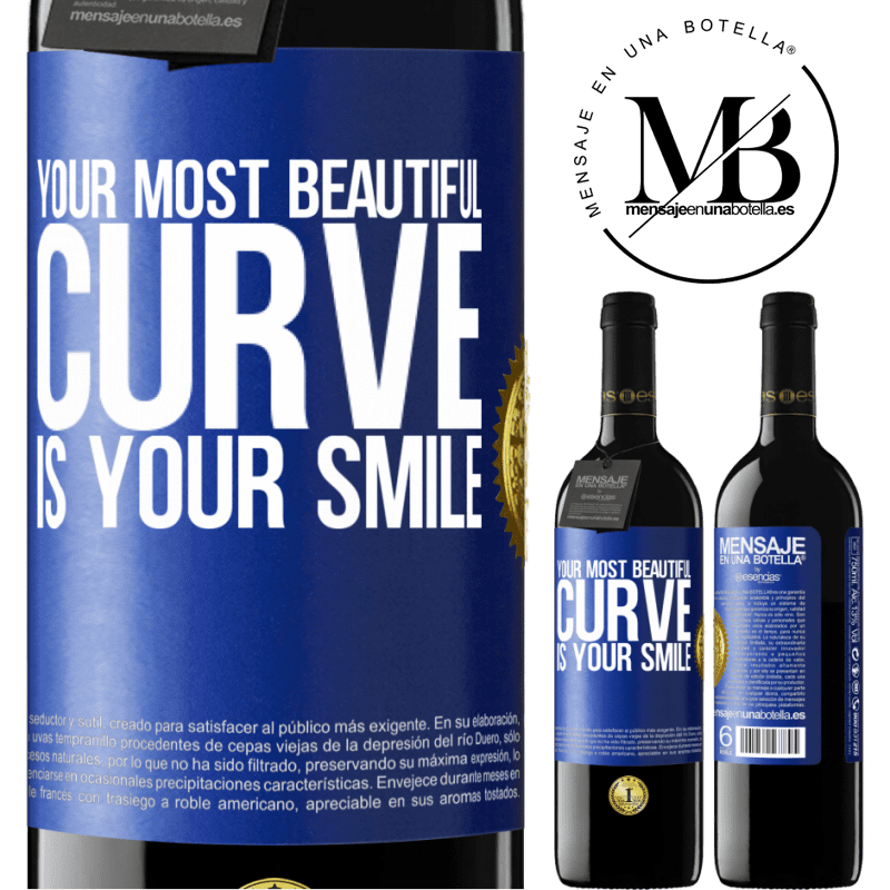 24,95 € Free Shipping   Red Wine RED Edition Crianza 6 Months Your most beautiful curve is your smile Blue Label. Customizable label Aging in oak barrels 6 Months Harvest 2018 Tempranillo