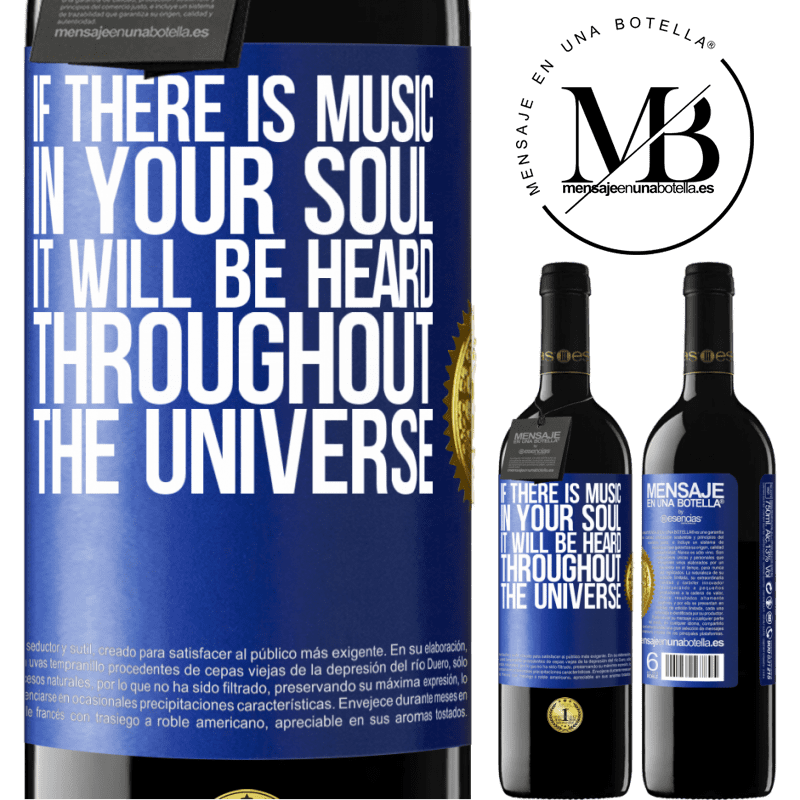 24,95 € Free Shipping | Red Wine RED Edition Crianza 6 Months If there is music in your soul, it will be heard throughout the universe Blue Label. Customizable label Aging in oak barrels 6 Months Harvest 2018 Tempranillo