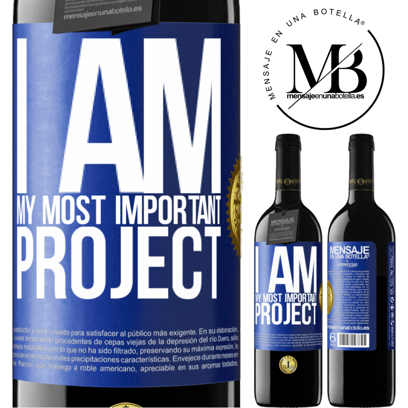 24,95 € Free Shipping | Red Wine RED Edition Crianza 6 Months I am my most important project Blue Label. Customizable label Aging in oak barrels 6 Months Harvest 2018 Tempranillo