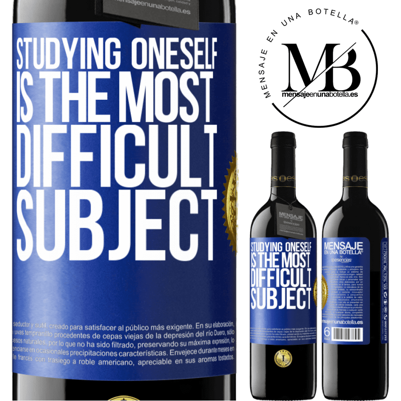 24,95 € Free Shipping | Red Wine RED Edition Crianza 6 Months Studying oneself is the most difficult subject Blue Label. Customizable label Aging in oak barrels 6 Months Harvest 2018 Tempranillo