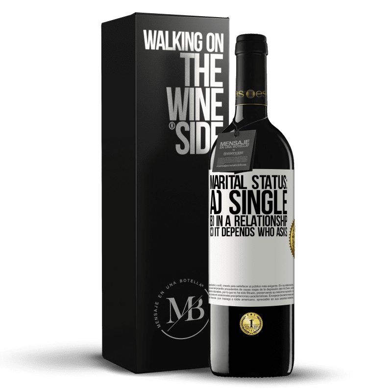 24,95 € Free Shipping | Red Wine RED Edition Crianza 6 Months Marital status: a) Single b) In a relationship c) It depends who asks White Label. Customizable label Aging in oak barrels 6 Months Harvest 2018 Tempranillo