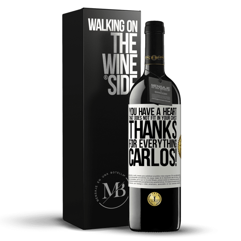 24,95 € Free Shipping   Red Wine RED Edition Crianza 6 Months You have a heart that does not fit in your chest. Thanks for everything, Carlos! White Label. Customizable label Aging in oak barrels 6 Months Harvest 2018 Tempranillo