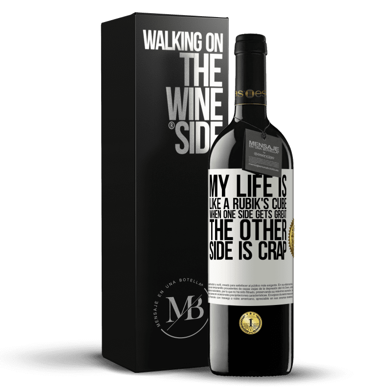 24,95 € Free Shipping | Red Wine RED Edition Crianza 6 Months My life is like a rubik's cube. When one side gets great, the other side is crap White Label. Customizable label Aging in oak barrels 6 Months Harvest 2018 Tempranillo