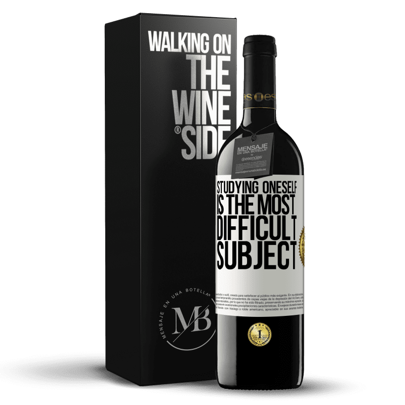 24,95 € Free Shipping | Red Wine RED Edition Crianza 6 Months Studying oneself is the most difficult subject White Label. Customizable label Aging in oak barrels 6 Months Harvest 2018 Tempranillo