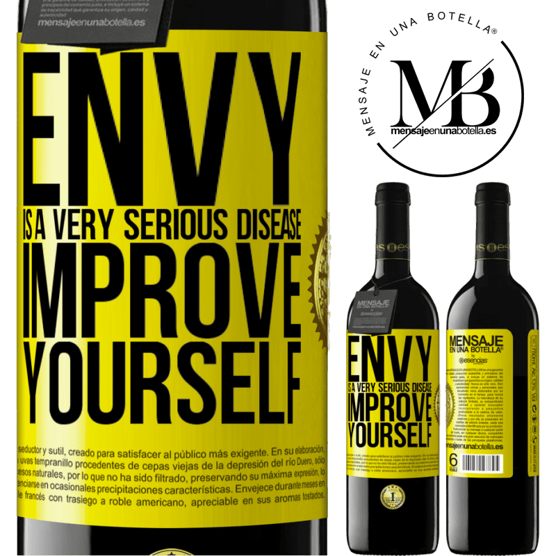 24,95 € Free Shipping | Red Wine RED Edition Crianza 6 Months Envy is a very serious disease, improve yourself Yellow Label. Customizable label Aging in oak barrels 6 Months Harvest 2018 Tempranillo