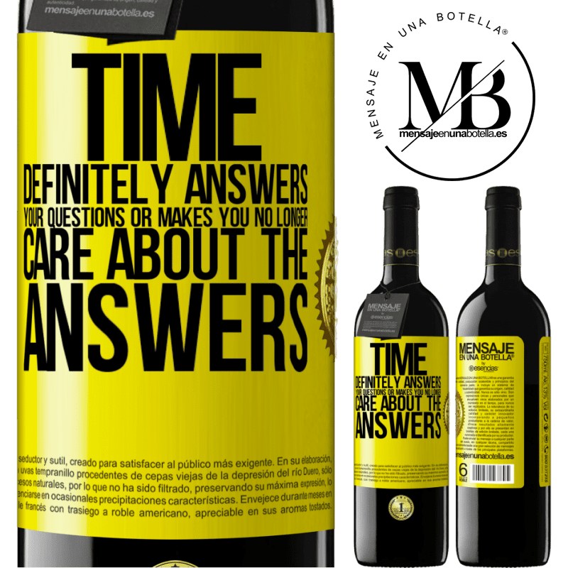 24,95 € Free Shipping | Red Wine RED Edition Crianza 6 Months Time definitely answers your questions or makes you no longer care about the answers Yellow Label. Customizable label Aging in oak barrels 6 Months Harvest 2018 Tempranillo