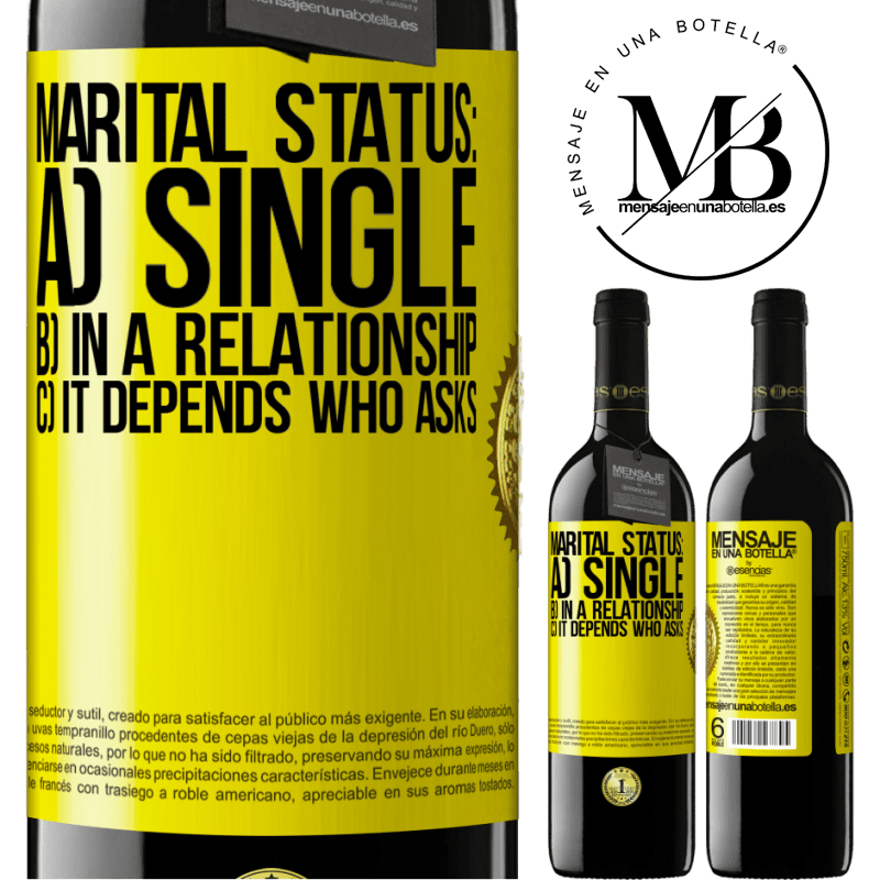 24,95 € Free Shipping | Red Wine RED Edition Crianza 6 Months Marital status: a) Single b) In a relationship c) It depends who asks Yellow Label. Customizable label Aging in oak barrels 6 Months Harvest 2018 Tempranillo