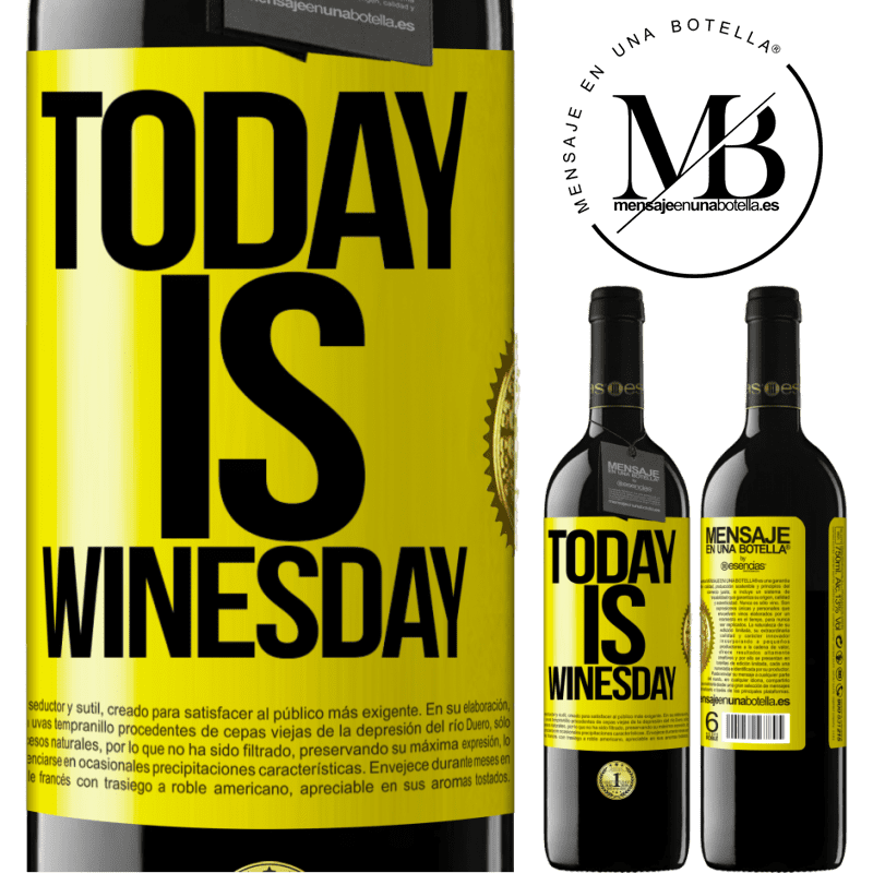 24,95 € Free Shipping | Red Wine RED Edition Crianza 6 Months Today is winesday! Yellow Label. Customizable label Aging in oak barrels 6 Months Harvest 2018 Tempranillo