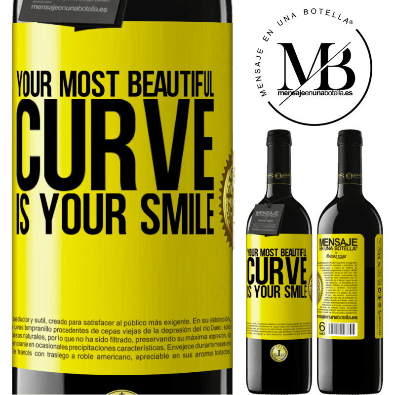 24,95 € Free Shipping   Red Wine RED Edition Crianza 6 Months Your most beautiful curve is your smile Yellow Label. Customizable label Aging in oak barrels 6 Months Harvest 2018 Tempranillo
