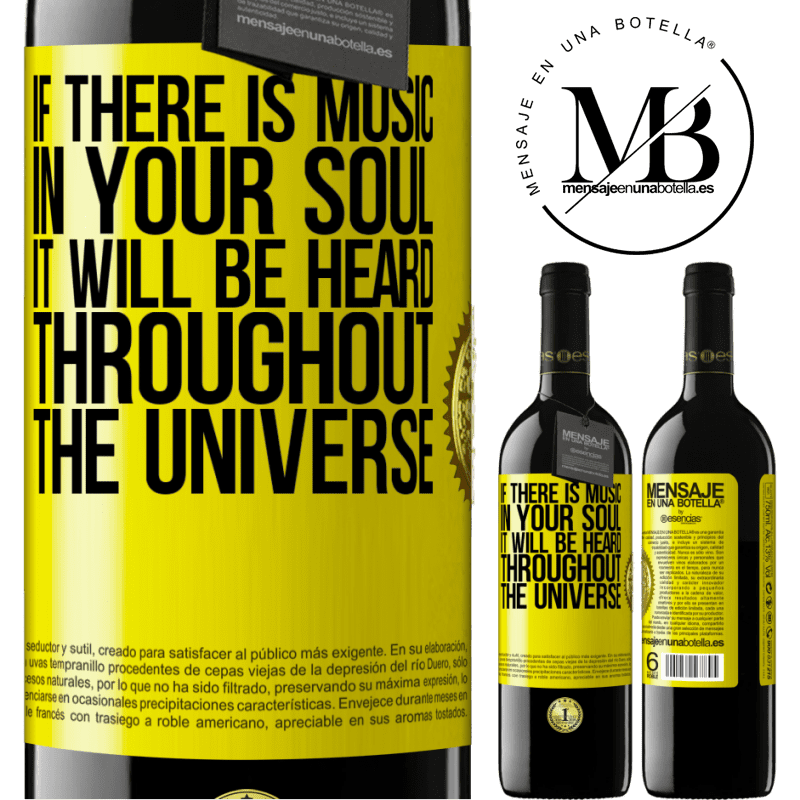 24,95 € Free Shipping | Red Wine RED Edition Crianza 6 Months If there is music in your soul, it will be heard throughout the universe Yellow Label. Customizable label Aging in oak barrels 6 Months Harvest 2018 Tempranillo