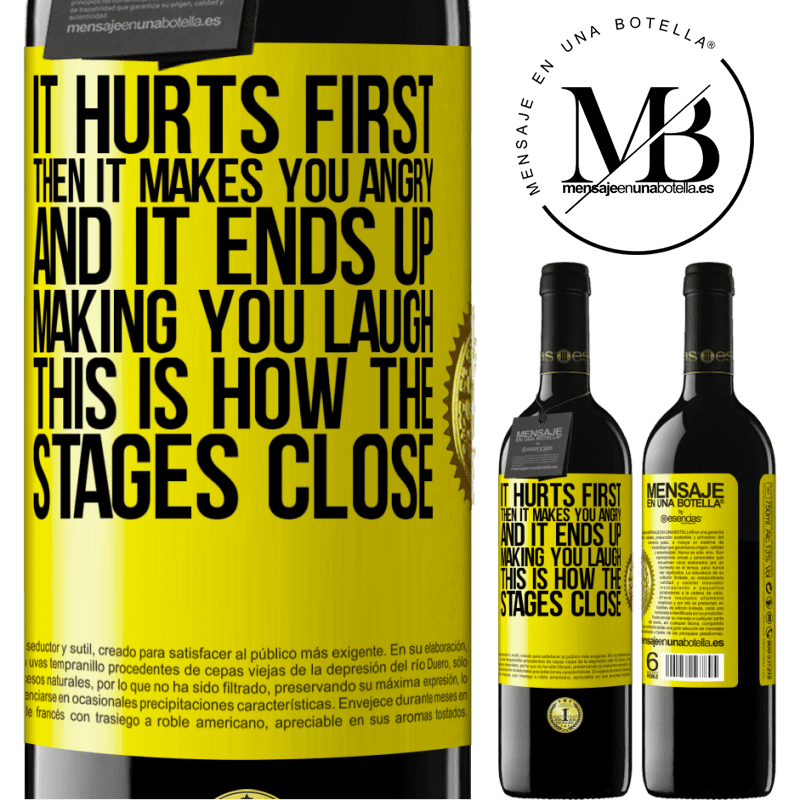 24,95 € Free Shipping | Red Wine RED Edition Crianza 6 Months It hurts first, then it makes you angry, and it ends up making you laugh. This is how the stages close Yellow Label. Customizable label Aging in oak barrels 6 Months Harvest 2018 Tempranillo