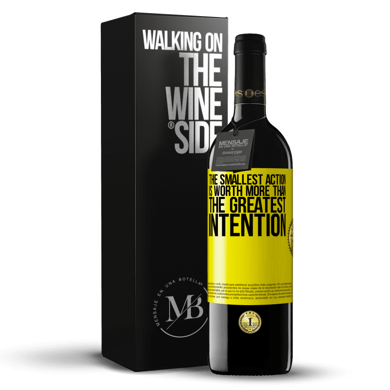 24,95 € Free Shipping | Red Wine RED Edition Crianza 6 Months The smallest action is worth more than the greatest intention Yellow Label. Customizable label Aging in oak barrels 6 Months Harvest 2018 Tempranillo