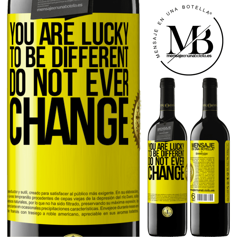 24,95 € Free Shipping | Red Wine RED Edition Crianza 6 Months You are lucky to be different. Do not ever change Yellow Label. Customizable label Aging in oak barrels 6 Months Harvest 2018 Tempranillo