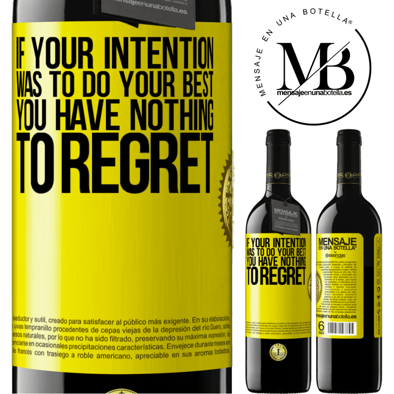 24,95 € Free Shipping | Red Wine RED Edition Crianza 6 Months If your intention was to do your best, you have nothing to regret Yellow Label. Customizable label Aging in oak barrels 6 Months Harvest 2018 Tempranillo