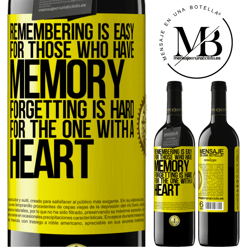 24,95 € Free Shipping | Red Wine RED Edition Crianza 6 Months Remembering is easy for those who have memory. Forgetting is hard for the one with a heart Yellow Label. Customizable label Aging in oak barrels 6 Months Harvest 2018 Tempranillo