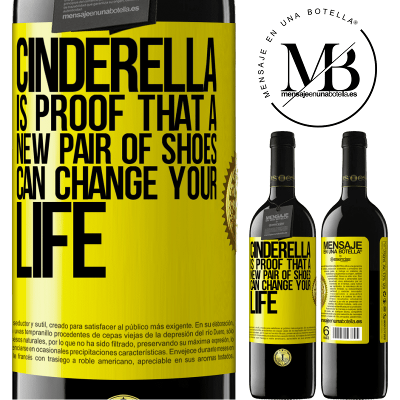 24,95 € Free Shipping | Red Wine RED Edition Crianza 6 Months Cinderella is proof that a new pair of shoes can change your life Yellow Label. Customizable label Aging in oak barrels 6 Months Harvest 2018 Tempranillo