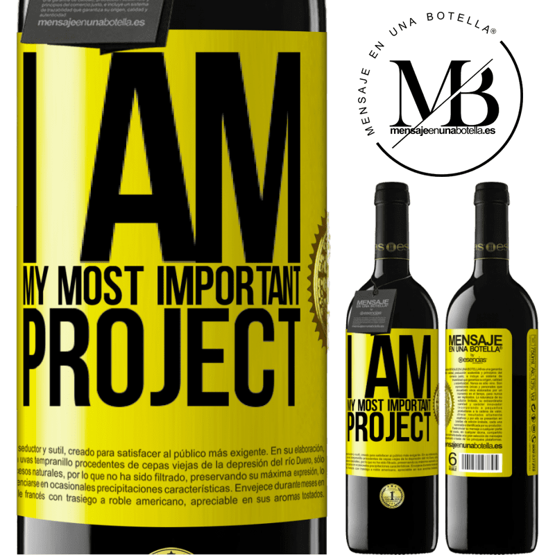 24,95 € Free Shipping | Red Wine RED Edition Crianza 6 Months I am my most important project Yellow Label. Customizable label Aging in oak barrels 6 Months Harvest 2018 Tempranillo