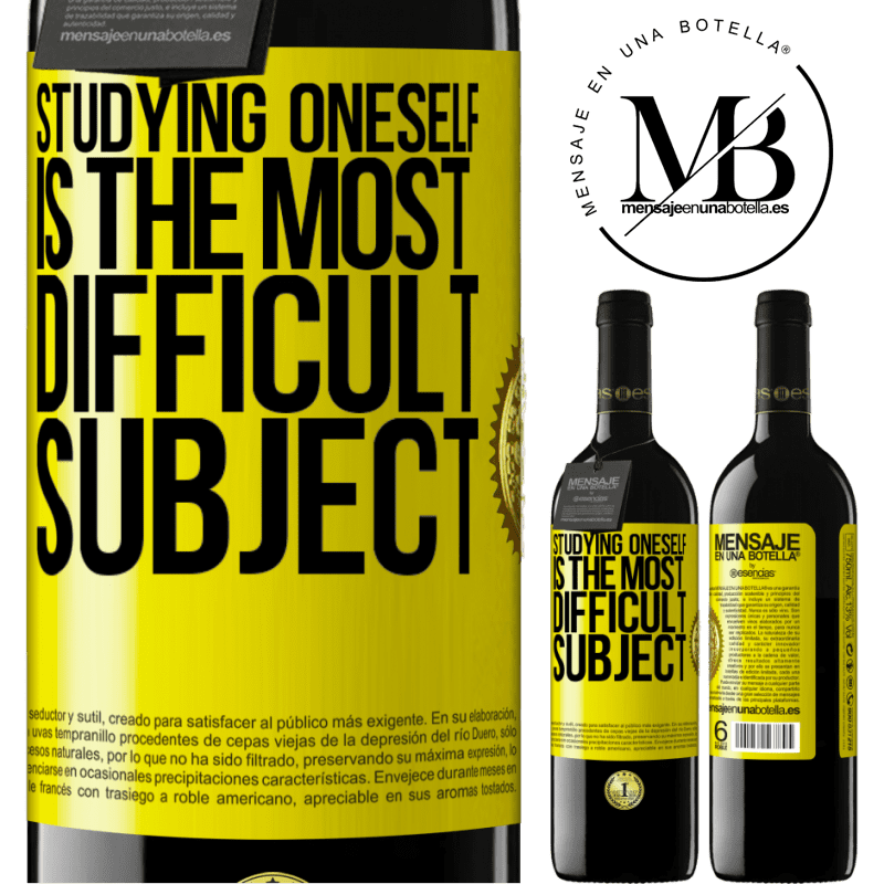 24,95 € Free Shipping | Red Wine RED Edition Crianza 6 Months Studying oneself is the most difficult subject Yellow Label. Customizable label Aging in oak barrels 6 Months Harvest 2018 Tempranillo