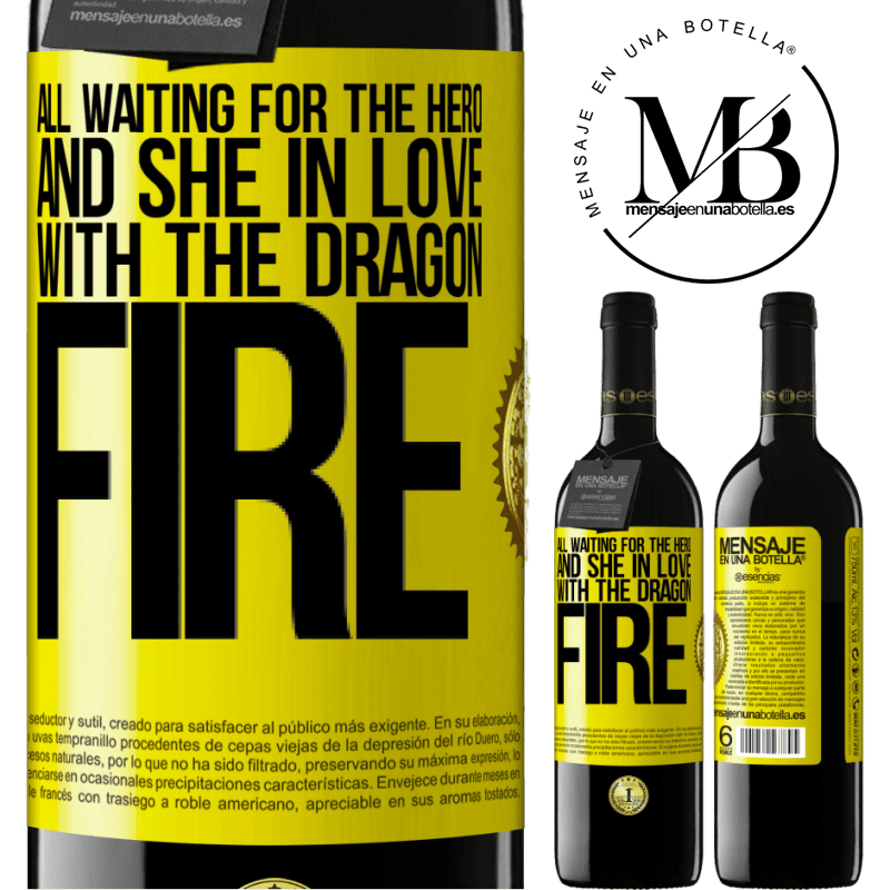 24,95 € Free Shipping | Red Wine RED Edition Crianza 6 Months All waiting for the hero and she in love with the dragon fire Yellow Label. Customizable label Aging in oak barrels 6 Months Harvest 2018 Tempranillo