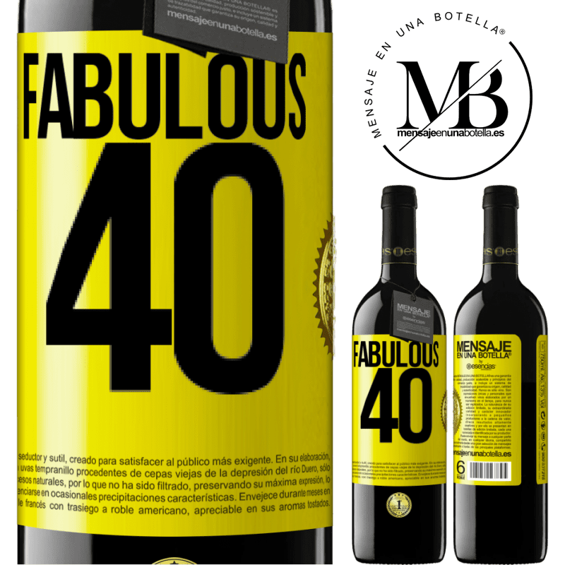 24,95 € Free Shipping | Red Wine RED Edition Crianza 6 Months Fabulous 40 Yellow Label. Customizable label Aging in oak barrels 6 Months Harvest 2018 Tempranillo