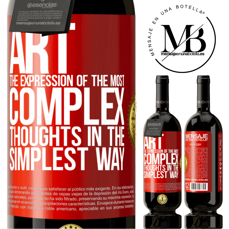 29,95 € Free Shipping | Red Wine Premium Edition MBS® Reserva ART. The expression of the most complex thoughts in the simplest way Red Label. Customizable label Reserva 12 Months Harvest 2013 Tempranillo