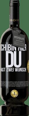 29,95 € Kostenloser Versand | Rotwein Premium Edition MBS® Reserva Ich bin hier Du hast zwei Wünsche Schwarzes Etikett. Anpassbares Etikett Reserva 12 Monate Ernte 2013 Tempranillo