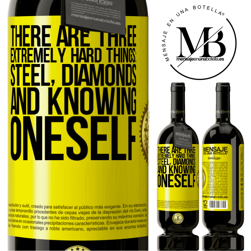 29,95 € Free Shipping   Red Wine Premium Edition MBS® Reserva There are three extremely hard things: steel, diamonds, and knowing oneself Yellow Label. Customizable label Reserva 12 Months Harvest 2013 Tempranillo