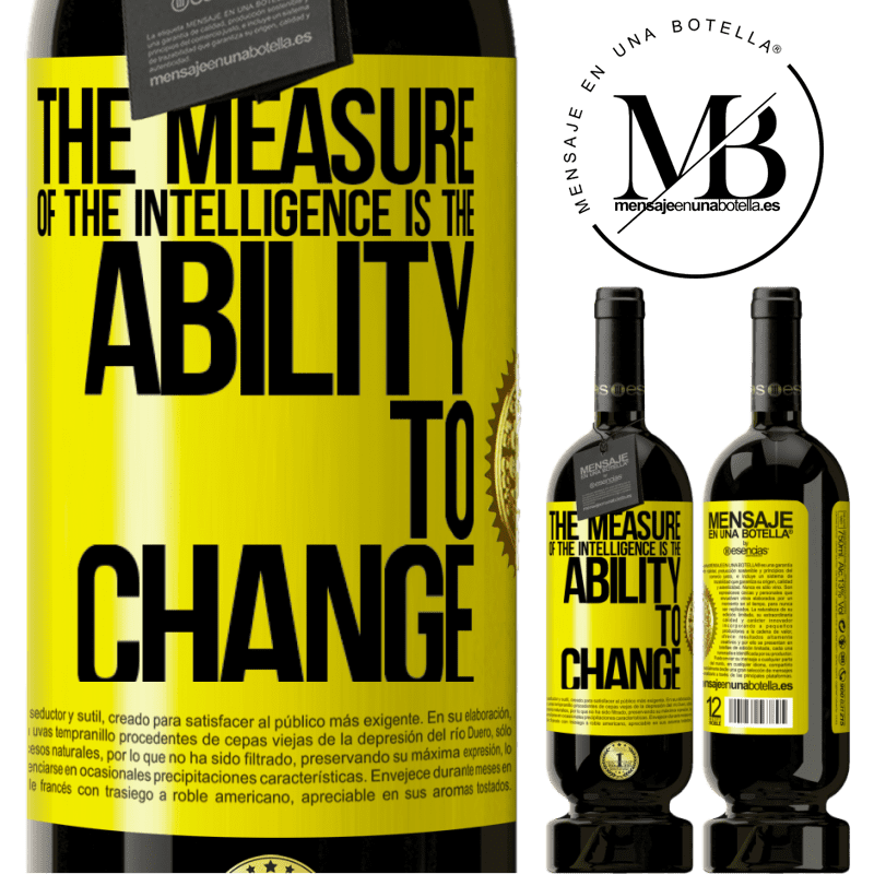29,95 € Free Shipping   Red Wine Premium Edition MBS® Reserva The measure of the intelligence is the ability to change Yellow Label. Customizable label Reserva 12 Months Harvest 2013 Tempranillo