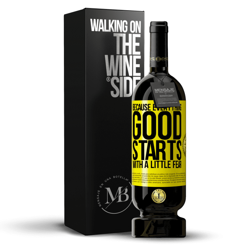 29,95 € Free Shipping | Red Wine Premium Edition MBS® Reserva Because everything good starts with a little fear Yellow Label. Customizable label Reserva 12 Months Harvest 2013 Tempranillo