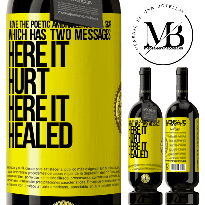 29,95 € Free Shipping   Red Wine Premium Edition MBS® Reserva I love the poetic ambivalence of a scar, which has two messages: here it hurt, here it healed Yellow Label. Customizable label Reserva 12 Months Harvest 2013 Tempranillo