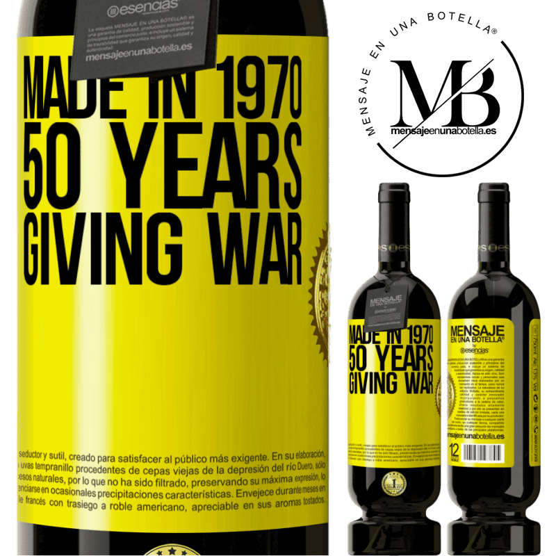 29,95 € Free Shipping   Red Wine Premium Edition MBS® Reserva Made in 1970. 50 years giving war Yellow Label. Customizable label Reserva 12 Months Harvest 2013 Tempranillo