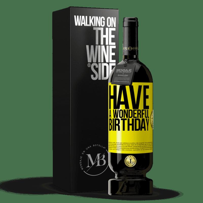 29,95 € Envoi gratuit   Vin rouge Édition Premium MBS® Reserva Bon anniversaire Étiquette Jaune. Étiquette personnalisable Reserva 12 Mois Récolte 2013 Tempranillo