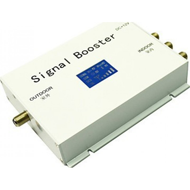 Signal Boosters Mobile phone signal booster. Whip and panel antenna kit. White color. LCD Display 3G