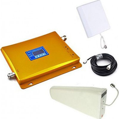 Mobile phone dual band signal booster. Repeater and antennas kit. LCD Display