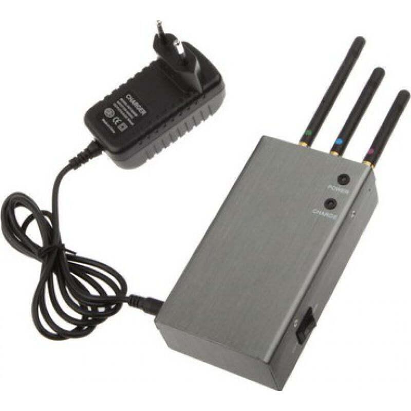 手机干扰器 便携式信号阻断器。银色 GSM Portable 20m