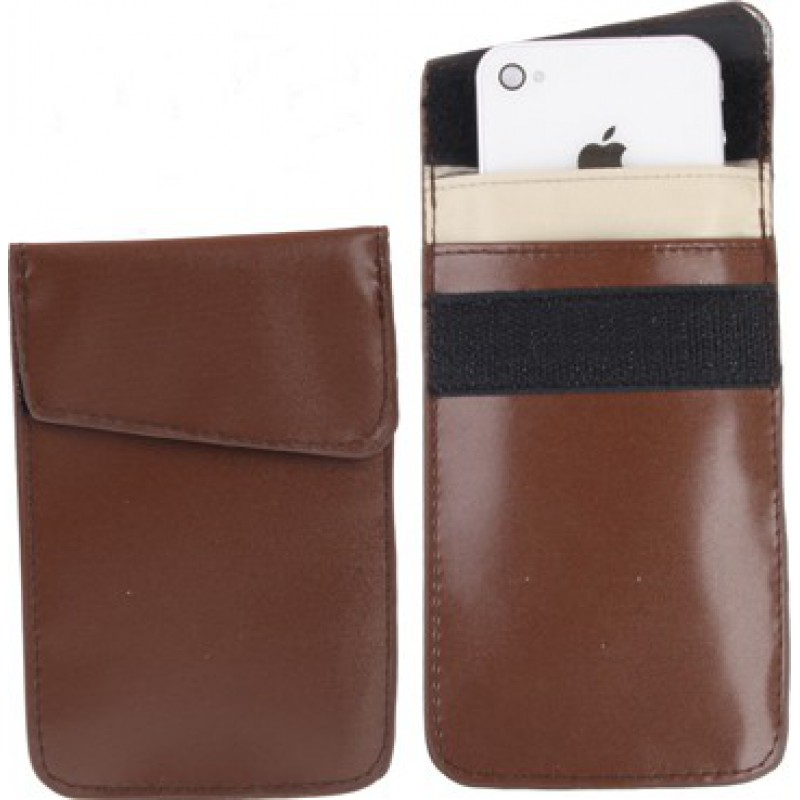 Jammer Accessories Protective anti-radiation bag. Signal blocking case pouch for smartphones. Coffee color