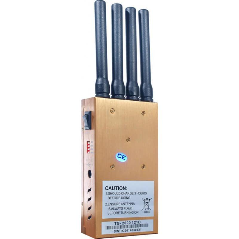 122,95 € 免费送货   手机干扰器 便携式信号阻断器。 4个乐队 GSM Portable