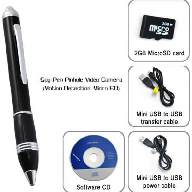 Шпионские ручки Высококачественная шпионская ручка. Пинхол видеокамера. TF карта 2 Gb