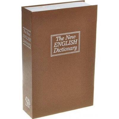 Versteckte Spionagegeräte Schließfach für Bargeld. Englisches Wörterbuch im Großformat. Schließfach und Schlüssel