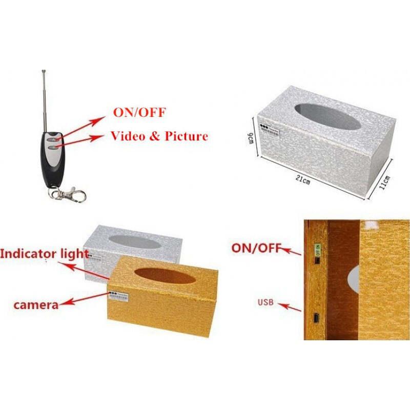 其他隐藏的相机 可充电针孔纸巾盒相机。数字录像机(DVR)。 25米无线范围遥控器