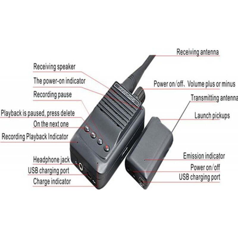107,95 € Envoi gratuit | Détecteurs de Signal Enregistreur d'espionnage audio micro sans fil. Emetteur et récepteur vocal. Fente pour carte TF. Portée de 500 mètres
