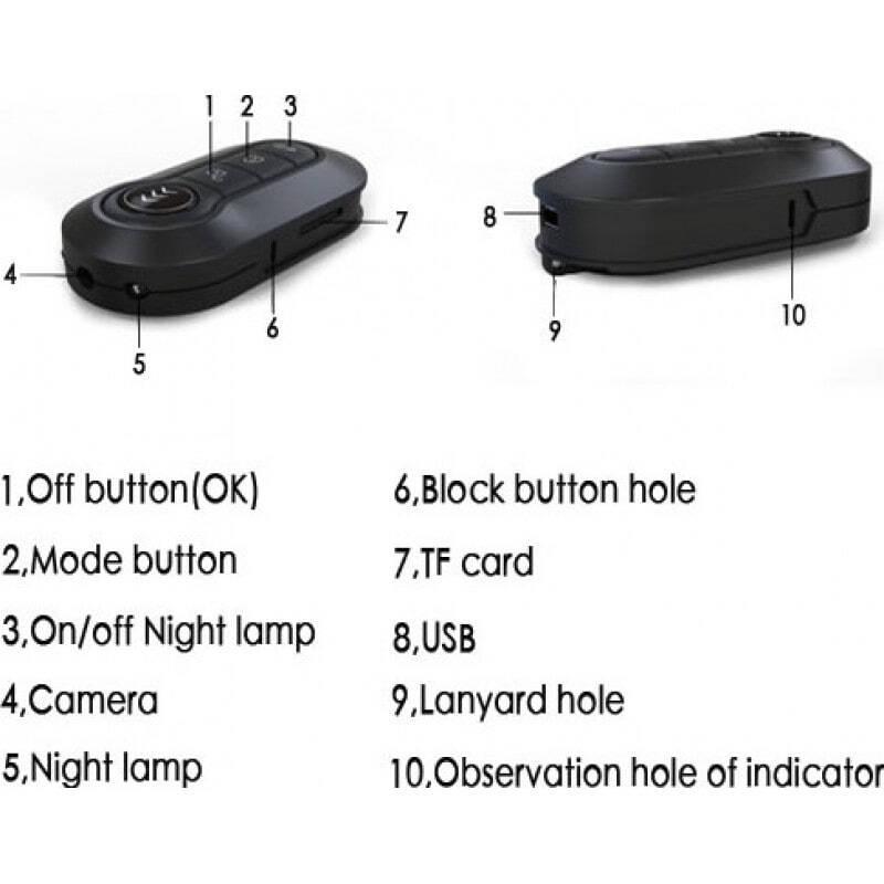49,95 € Envoi gratuit | Touches Espion Caméscope clé voiture. DVR Enregistreur vidéo numérique. Vision nocturne infrarouge IR. Fonction de détection de mouvement. Fent 1080P Full HD